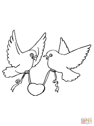 Click The Love Birds With Hearts Coloring Pages