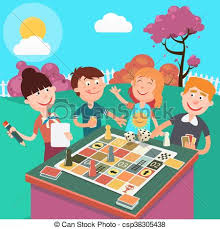 Family Playing Board Game Outdoor Happy Weekend Vector Illustration