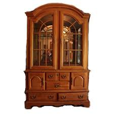 lighted oak china display cabinet by stanley furniture ebth