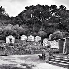 100 Canford Cliffs Beach Huts At Poole In Monochrome License