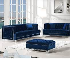 100 1 Contemporary Furniture 2pcs Set Living Room Tufted Velvet Fabric Navy Finish Sofa Loveseat NEW