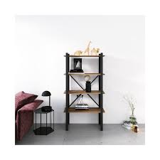 homemania buchhandlung regal wand buero wohnzimmer schwarz aus metall holz 70 x 35 x 150 cm