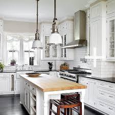 Butcher Block Island View Full Size Crisp White Kitchen