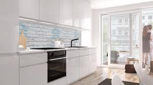 küchenrückwand blaues design holz