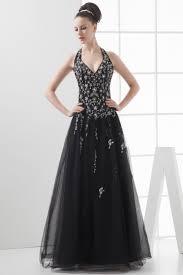 Black Halter Sleeveless Beading A Line Tulle Gorgeous Prom Dress