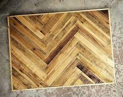 Reclaimed Pallet Wood Dining Table Top In A TreeBone Herringbone Pattern Legs Not Included
