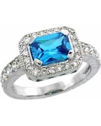 Sterling Silver Vintage Style Blue Topaz Cubic Zirconia Engagement Ring Emerald Cut 1 Ct Center