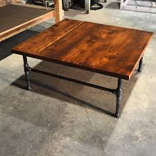 Furniture Teak Square Rustic Industrial Style Varnished Wood Restoration Hardware Coffee Tables With Metal Pipe