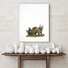 Bear Family Art Watercolor Poster Wild By LadyWatercolor