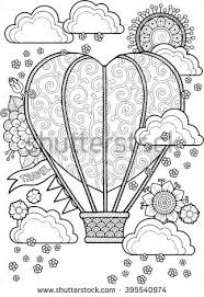Journey In A Balloon Valentines Day Coloring Book For Adult I Love You