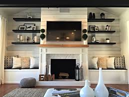 Living Room With Fireplace Design by Diy Planked Fireplace Fireplace After Ranch Renovation Marble