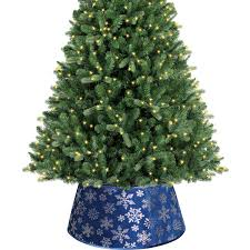 Holiday Time Christmas Decor 22 Blue Snowflake Velvet Stand Band Tree Cover