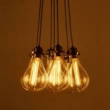 industrial cluster multi light pendant in exposed edison bulb