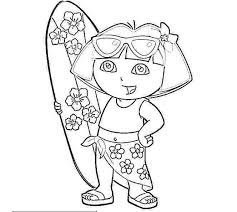 Printable Dora Christmas Coloring Sheets Pages