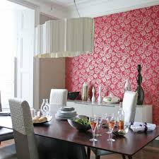 Source Dining Room Table Chairs Red Floral Feature Wall Wallpaper Designer Pendant Lampshade Real Home L Etc