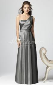 princess one shoulder matte satin floor length silver bridesmaid