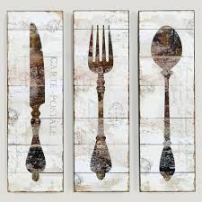 Large Wooden Fork And Spoon Wall Hanging by Natalie Wood Panel Wall Art Fork World Market For The Home