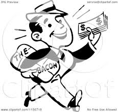 Clipart of a Black and White Retro Man Taking Home the Bacon Royalty Free Vector Clipart by BestVector