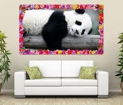 3d wandtattoo panda pandabär bär süß tier baby blumen rahmen wandbild wohnzimmer wand aufkleber 11l1165