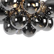 qazqa design deckenleuchte deckenle le leuchte schwarz mit rauchglas 4 flammig len uvas wohnzimmer schlafzimmer küche kugel