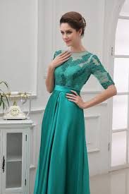 new arrival half sleeve lace satin emerald green long dress party