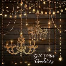 Gold Glitter Chandeliers Clipart By OriginsDigitalCurio