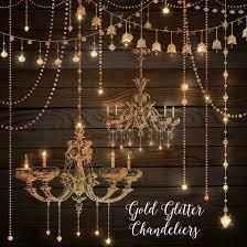 Gold Glitter Chandeliers Clipart By OriginsDigitalCurio