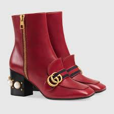 leather mid heel ankle boot gucci women u0027s boots u0026 booties