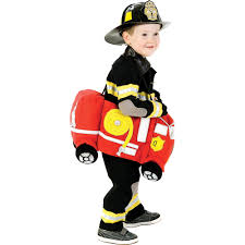 Toddler Plush Ride-On Firetruck Costume | Party City