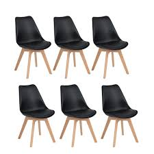 Details About Set Of 6 Tulip Style Dining Chair Plastic Wood Office Chair With Solid Wood Legs
