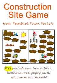 100 Construction Trucks Names FREE Board Game Preschool Powol Packets