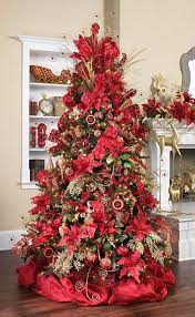 Every Inch Of The Tree Has Been Utilized By Using Poinsettias And Christmas Ornaments Gorgeous Red Deco Fabric Made A Beautiful Base For This