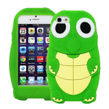 Cute 3D Cartoon Turtle Dinosaur Silicone Case Cover for iPhone 5