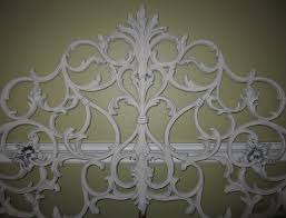 Wrought Iron Cal King Headboard by Heirloom White Cast Iron French Scroll Antique King Headboard