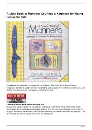 A Little Book Of Manners: Courtesy & Kindness For Young Ladies O… The Spirit Of Loveliness By Emilie Barnes 1992 Hardcover Ebay Good Manners For Todays Kids Teaching Your Child The Right Best 25 And Ideas On Pinterest Noble Books Heart Celebrating Joy Being A Woman More Hours In My Day Proven Ways To Organize Home Book Sue Your Bible Art Journaling Study Or Event 1arthouse 76 Best Daily Devotional Books Images A Little Book Courtesy Kindness Young Ladies Princess Making Royal Guide Becoming Girl 038 O Hollow World Martha Wells