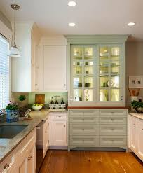 Sage Green Kitchen White Cabinets by Country Kitchen With Integrated Kitchen Hutch With Glass Doors