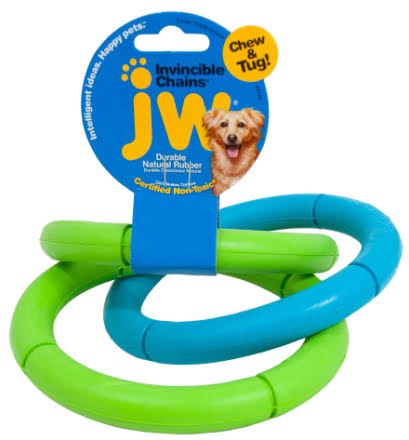 JW Pet Invincible Chains Rubber Dog Toy - Large, 6""