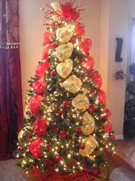 Gold Christmas Tree Ribbon Decorations With Ribbons Mesh Red And