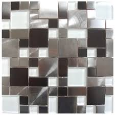 mosaic tile modern cobble stainless steel with white glass