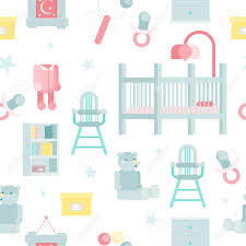 100 High Chair Pattern Flat Baby Room Vector Illustration With Cot