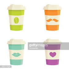 Paper Coffee Cups Set On A White Background