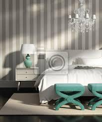 moderne elegante luxus grau schlafzimmer mit gestreifte tapete poster myloview