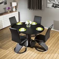 Quatropi Black Oak Dining Set Round Extends To Oval Table ,4x Z Chairs