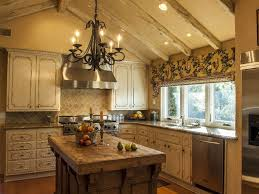 Kitchen Chandelier Above In Rustic Island Ideas Style Of Country