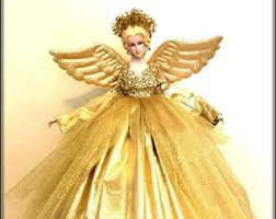 Gold Tree Top Christmas Angel Holiday Topper Decoration Porcelain In Gown Blonde Treetop