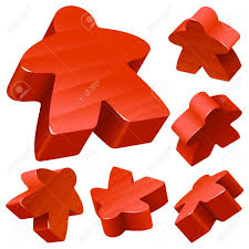 Red Wooden Meeple Vector Set Isolated On White Symbol Of Family Board Games Stock