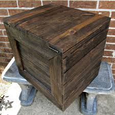 Large Rustic Wooden Crate With Hinged Lid