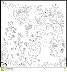 Royalty Free Vector Download Beautiful Woman With Abstract Hair Coloring Book Anti