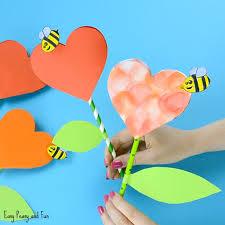 Paper Heart Flower Craft For Kids