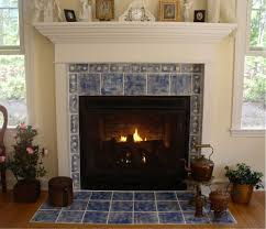 indoor fireplace ideas with classic blue ceramics wall tile with